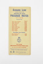Cunard Line White Star Donaldson Line Limited Passage Rates in U.S. Dollars 1955