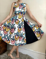 £139 New Gorgeous Finery Dress Multicoloured Floral Midi Maxi Uk 6 Unusual
