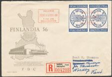 Finland 1956 FDC 30mk - Helsinki Philatelic Exhibition - ticket - Tête Bêche