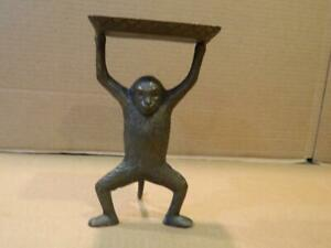 Bronze Monkey Holding a Card or Tip Tray Over It's Head 1970's