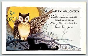 Halloween~Owl on Tree Branch Points With Wing~Black Cat~Full Moon~Whitney Made