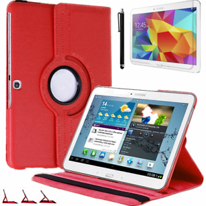 Samsung Tab 4- T530 T531 T535 Protective Case 360° Pouch Pu-Leather Cover Red