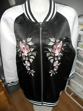 ANITA & GREEN POLYESTER BLACK EMBROIDERED FRONT BOMBER JACKET SIZE 18
