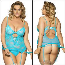 New Women's Sexy Plus Size Aqua Blue Lace Teddy Garter Lingerie G-string Set