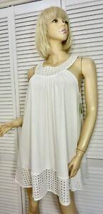 NWT $78 Kate Spade NY Chemise Nightgown LARGE White Slvless Eyelet Cotton Blend