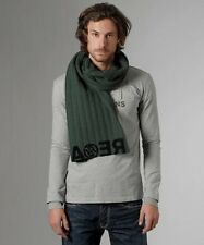 RA-RE by NOLITA green wool scarf sciarpa uomo donna lana verde scuro 35x175 BNWT