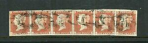 GB  1841  Penny Red Horizontal Strip of Six  4-Margins  ...  (O424)