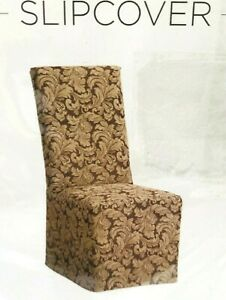 NEW Sure Fit Scroll Long Dining Room Chair fabric Slipcover Brown T410912 armles