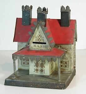 1870s GEORGE BROWN LARGE SIZE THREE CHIMNEY BANK BUILDING STILL BANK GREAT PAINT