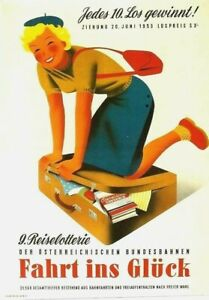 Original vintage poster AUSTRIA RAILWAY LOTTERY GIRL c.1950