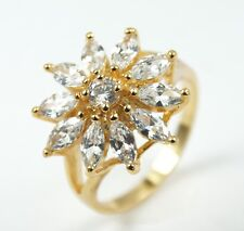 Women's 18 Carat Gold plated Clear Crystal large Flower Statement ring UK Size P