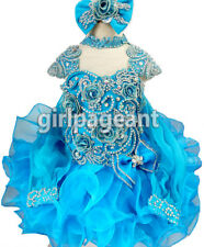 Infant/toddle Stunning Crystals Long Sleeves Blue Pageant Glitz Dress 3T G016