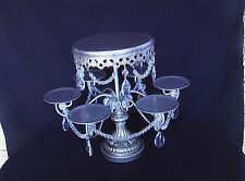 Antique Silver Look Crystal Prisms Cake Cupcake Pastry Stand 25th Anniversary!