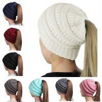 Women's Messy High Bun Ponytail Stretchy Knit Beanie Skull Winter Warm Hat ca