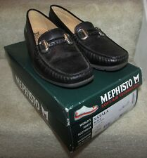 Mephisto Natala Black Leather Slip-On Ladies Mocassin Shoes Size 8.5