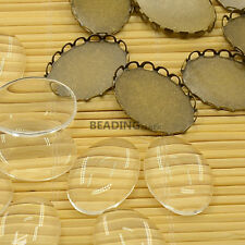 10 Sets 18x13mm Antique Bronze Oval Cabochon Settings & Clear Glass Cabochons