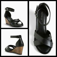 a9ca0db329ca Torrid Crisscross Mini Wedges Black Heels Buckle Wide Width Size 11  237