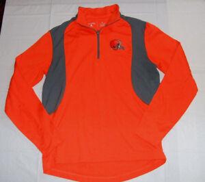 Cleveland Browns Warm-Up Jogging Shirt 1/4 Zipper Orange Antigua Small Polyester