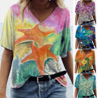 Summer Women Casual Floral Tie Dye T Shirt Short Sleeve V Neck Blouse Loose Top