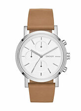 NEW DKNY NY2336 Soho Light Brown Leather Strap Chronograph Women's Watch
