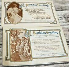 2 Vintage 1920 & 1921 Black & White Birthday Greetings Religious Announcements