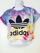 New Reworked Tie Dye ADIDAS ORIGINALS  Crop Top T-Shirt M Festival Ibiza