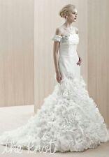 1900.00 BRAND NEW! Enzoani Blue White Emerald Beaded Lace Wedding Dress Size 10