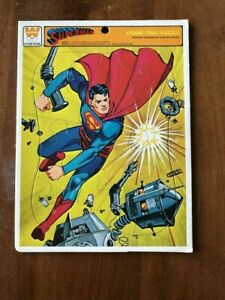 RARE! VINTAGE 1966 WHITMAN CARDBOARD FRAME-TRAY SUPERMAN PUZZLE Robot Punch DC