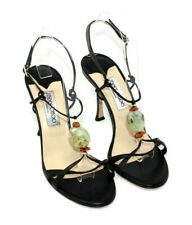 Jimmy Choo Authentic 39 US 8 Black Strappy Polished Stone Heels Rare