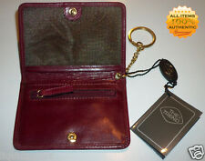 THE TREND GENUINE RED BURGUNDY LEATHER MEN WOMEN ZIP KEYCHAIN CLUTCH POCKET
