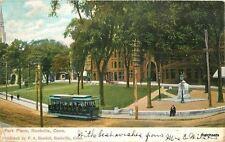 1907 Park Place Trolley Rockville Connecticut Langsdorf postcard 5666