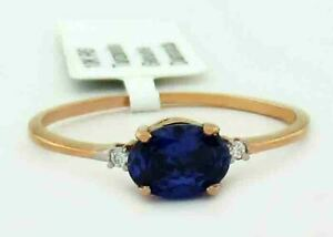 AAA TANZANITE & GENUINE DIAMONDS RING 10k ROSE GOLD ** New With Tag in Box **