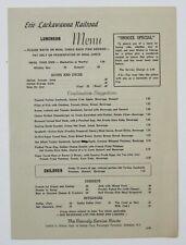 EL Erie Lackawanna Railroad - Snooze Special - Luncheon Menu