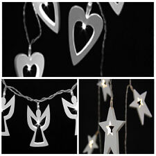 White Wooden 12 LED Light String - Hearts Angels & Stars - Wedding - Christmas