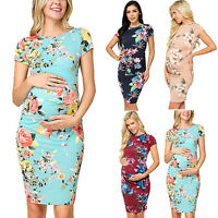 Pregnant Women Floral Maternity Bodycon Summer Casual Short Sleeve Blouse Dress