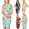 Womens Pregnant Floral Short Sleeve Bodycon Midi Dress Summer Maternity Clothes