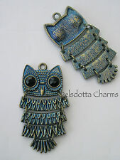 1 x BLUE OWL CHARM/PENDANT 45mm BRONZE TONE METAL JEWELLERY MAKING CRAFTS (J5)