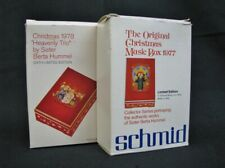 Mint Pair of Anri Schmid Berta Hummel Christmas Music Boxes 1977, 1978 Italy New