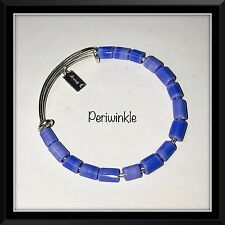 anna E Lampwork Bead Bracelet Sterling Silver Stack Bangles periwinkle