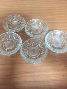 joblot 5 matching glass ashtrays