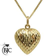 Collares y colgantes de joyería de oro amarillo de 9 quilates, de amor y corazones