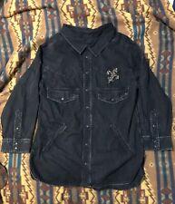 The KOOPLES Jeans Western Black Denim Snap Shirt Jacket Womens 2 Bling Oversized