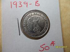 German 50 Reichspfennig 1939-B Scarce Third Reich Nickel Coin WW2 pf