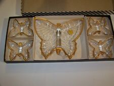 VINTAGE JEANNETTE GLASS BUTTERFLY ASHTRAY SET! 22K GOLD TRIM! UNUSED IN BOX!
