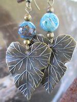 Blue Stone Bronze Large Leaf Handcrafted Artisan Earrings-Hippie Boho