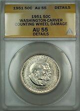 1951 Washington-Carver Silver 50c Commem. ANACS AU-55 Details (Better Coin) DGH
