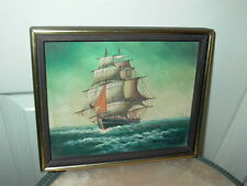 Framed Oil on Canvas Ship Seascape Painting Signed Don Winslow