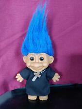 """Russ Troll Priest or Padre or Preacher - 5"""" Blue Hair Euc"""