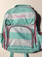 Pottery Barn Kids Small Fairfax Green Striped Pink Backpack name CHARLIE New