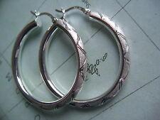 große Silbercreolen 4 cm x 4 mm teilmatt, diamantiert,Ohrringe Serlingsilber 925
